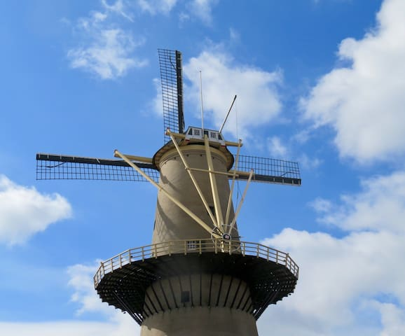 Schiedam, windmill in front of the house