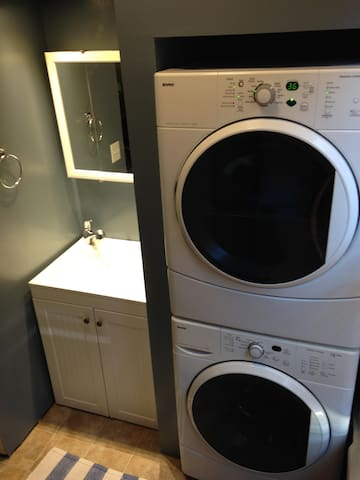 Newly renovated first-floor bathroom with washer/dryer