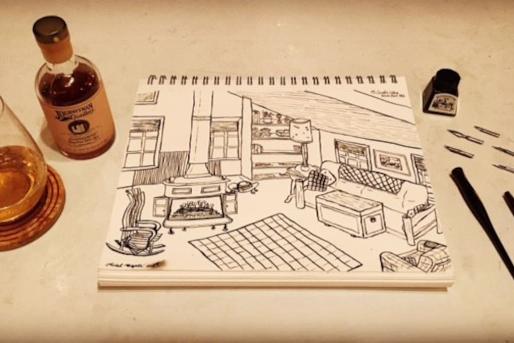 A guest inspired by his and his wife's stay in the Cabin captured their experience in pen and ink accompanied by a little Journeyman's local spirits.