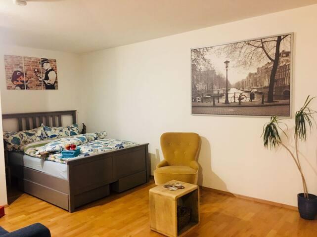 Wohnstudio in Freiburg mit Küche, Bad und Terrasse