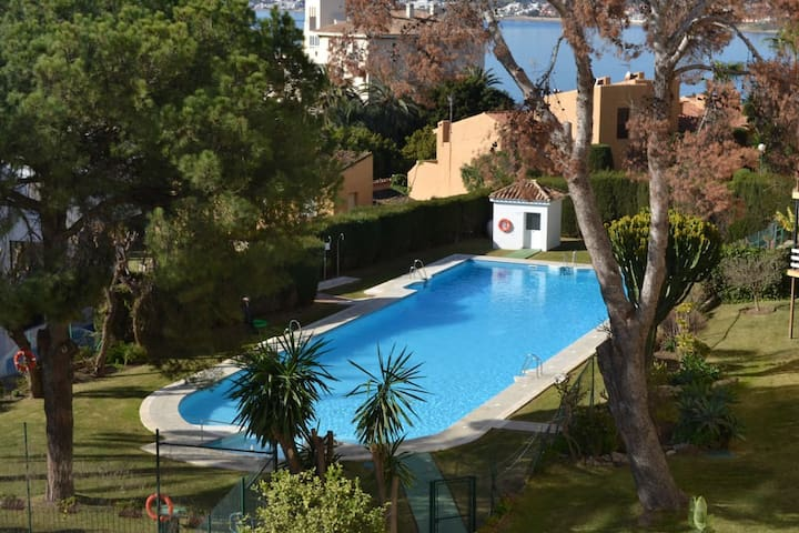Private pool shared by members, only 50 metres from the apartment