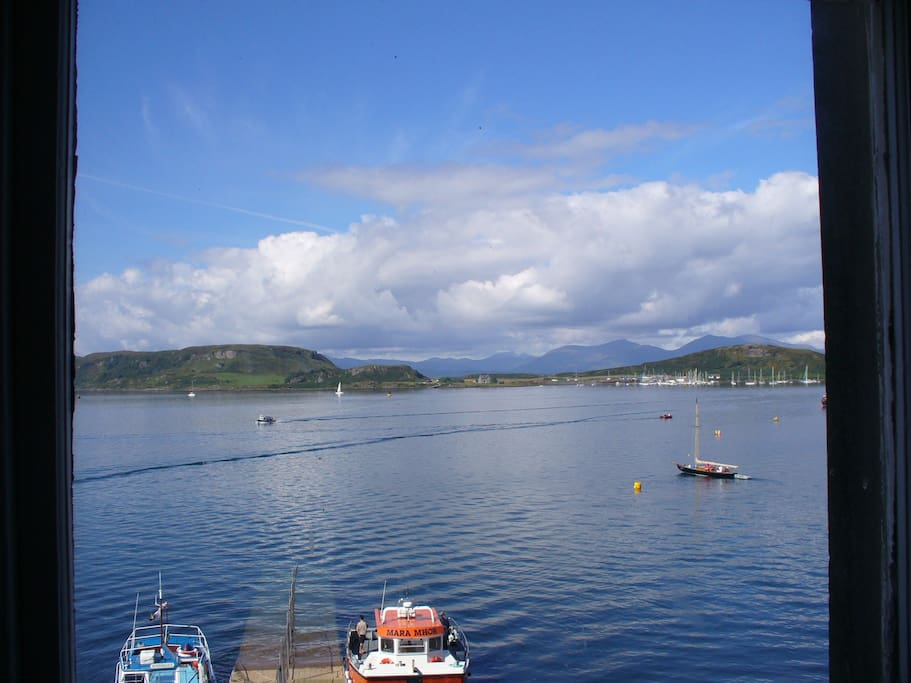The view from the flat, looking across the bay to Mull