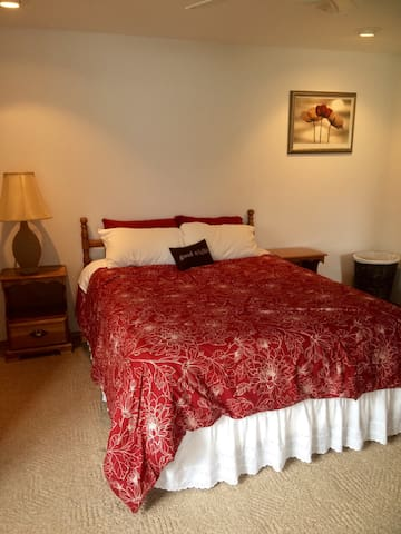 Comfortable master bedroom on main level with ensuite