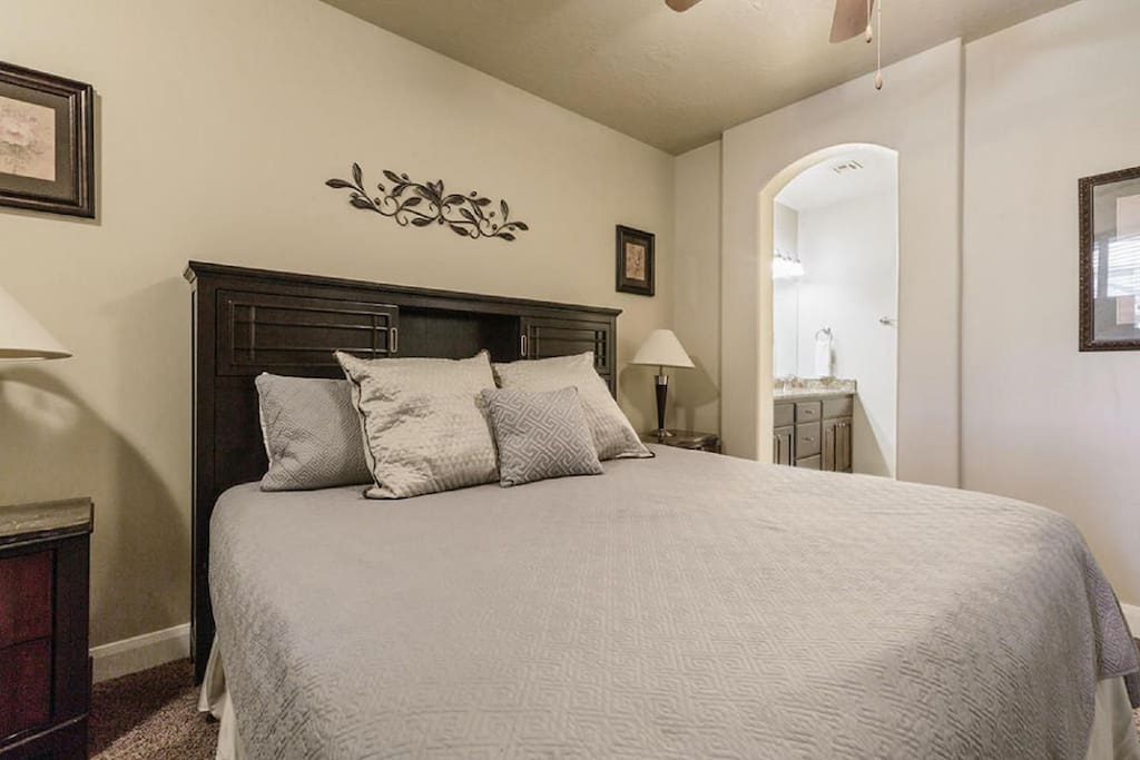 Master Bedroom Downstairs with King Bed and Master Bathroom