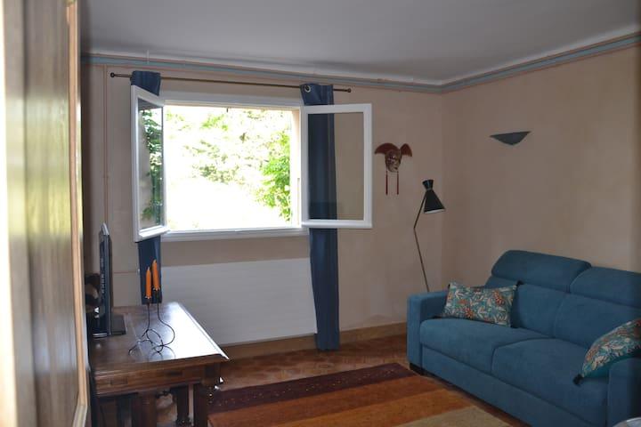 Le salon avec son canapé de qualité et sa vue sur les oliviers.