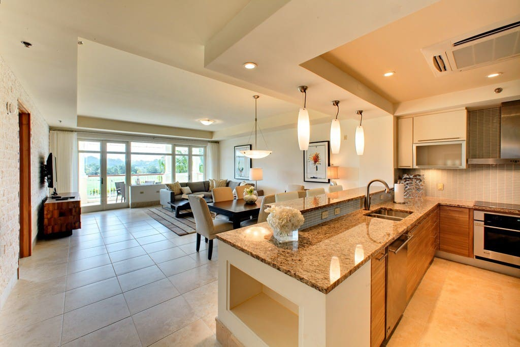 Spacious, fully equipped kitchen with grocery stocking services
