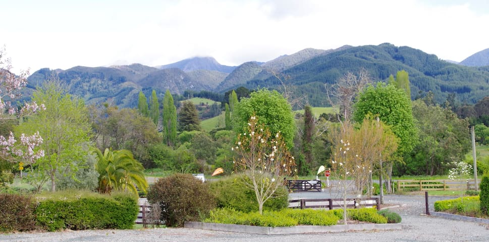 Views towards the Mt Arthur Range of Kahurangi National park from the private carpark for the accommodation at DUNBAR ESTATES.