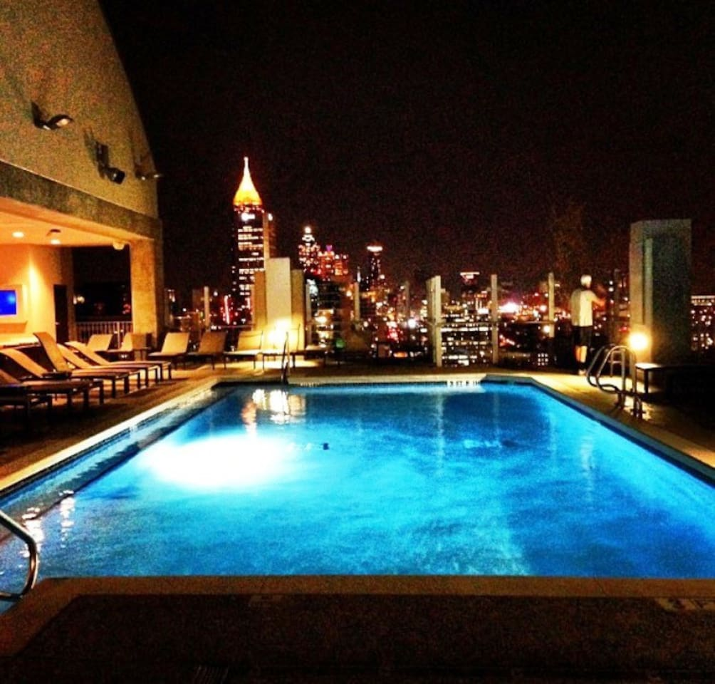 Pool is located on roof with incredible views