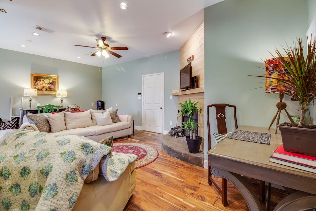 your space features a wood burning fireplace, hardwood floors and central AC/Heat