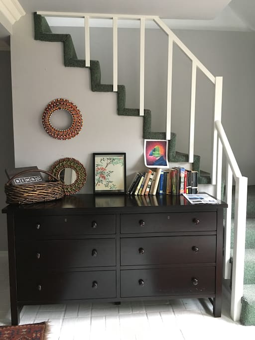 Tons of storage, plus a peek up the stairs