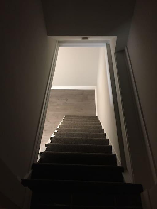 Stairs immediately inside door