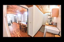Dining Room - Kitchen: Induction Plate, Refrigerator w/freezer, microwave oven, toaster and washing machine