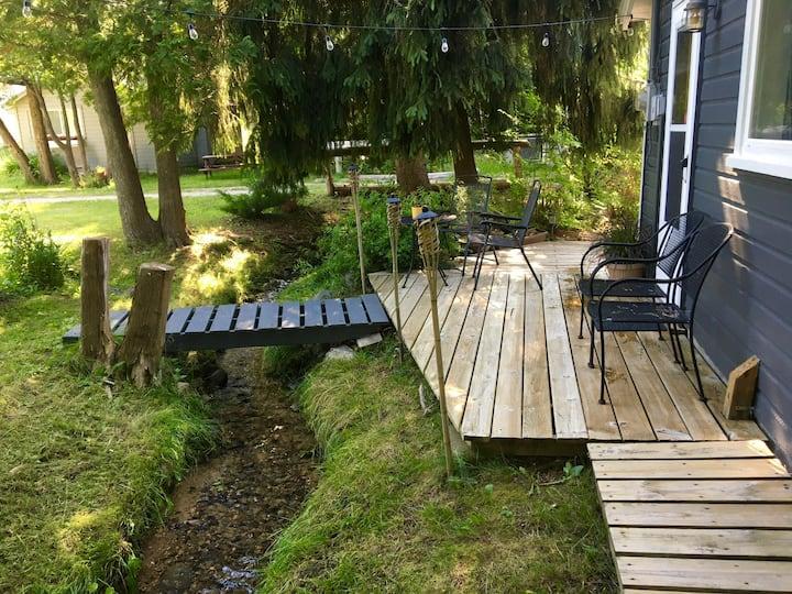Stream-side Cottage by Lake Leelanau Beachfront