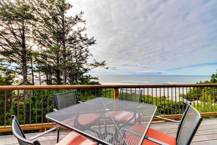 Charming home w/ hot tub, decks & stellar ocean view - walk to beach (MCA #1377)