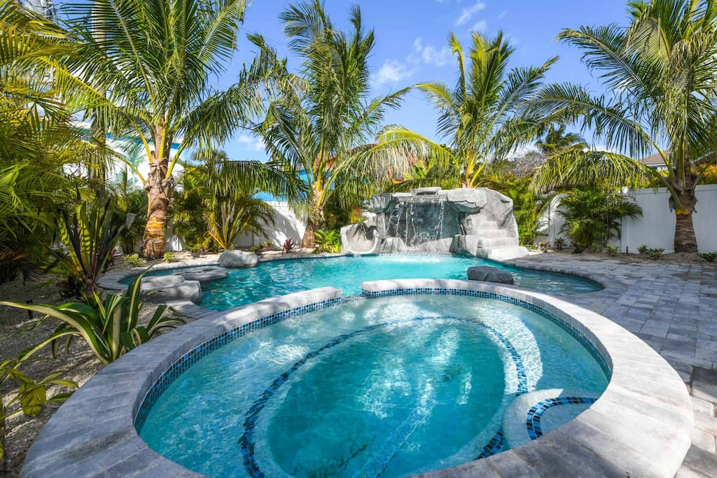 Pool Area with Hot Tub and Slide