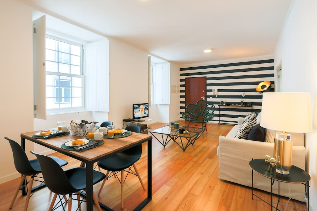 Notice the large windows filling the space with natural light