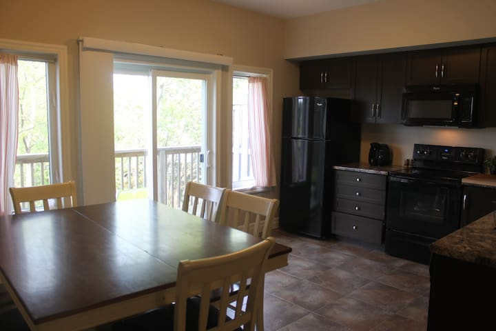 New fully equipped modern kitchen with a balcony overlooking a lovely park