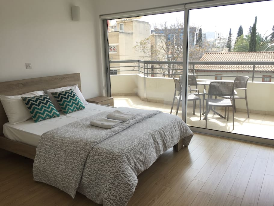 Master bedroom with the view to the Limassol old town