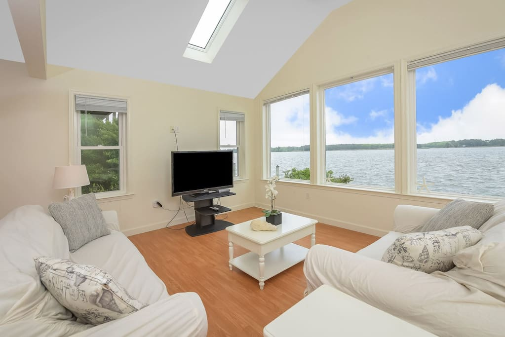Living Room with Water View and Queen Sleep Sofa
