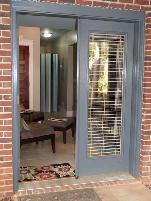 Inviting private entrance into the studio.