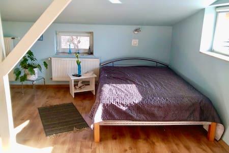 Piekna sypialnia z salonem, lazienka i balkonem
