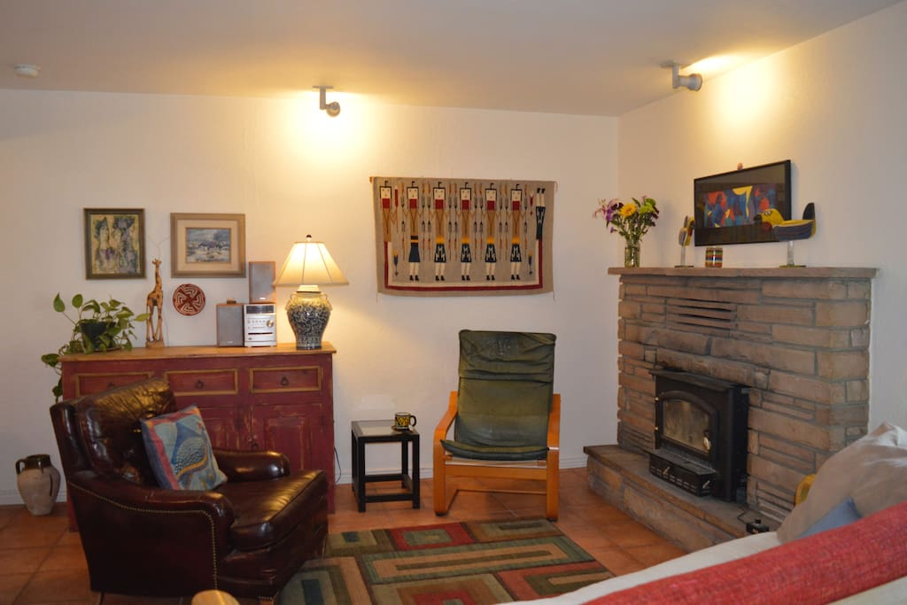 Living Room with wood burning stove