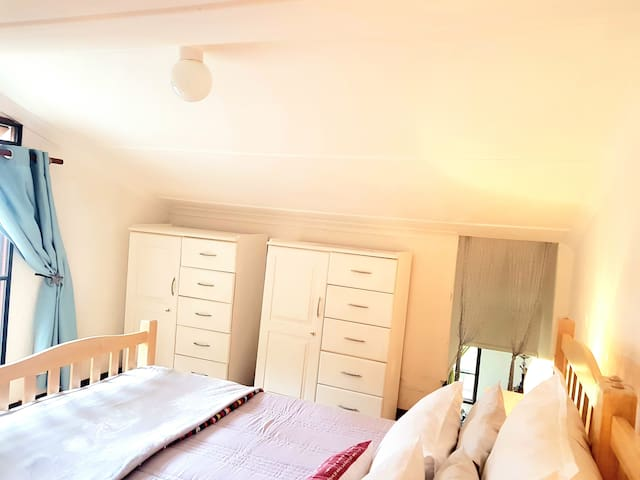 Sleeps two on a king size bed, as well as ample cupboard space including clothes hangers.