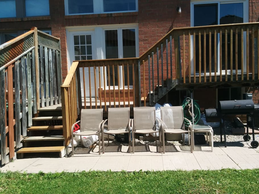 Newly renovated desk. Patio Furniture and small bbq for your use. Private entrance to basement apartment.