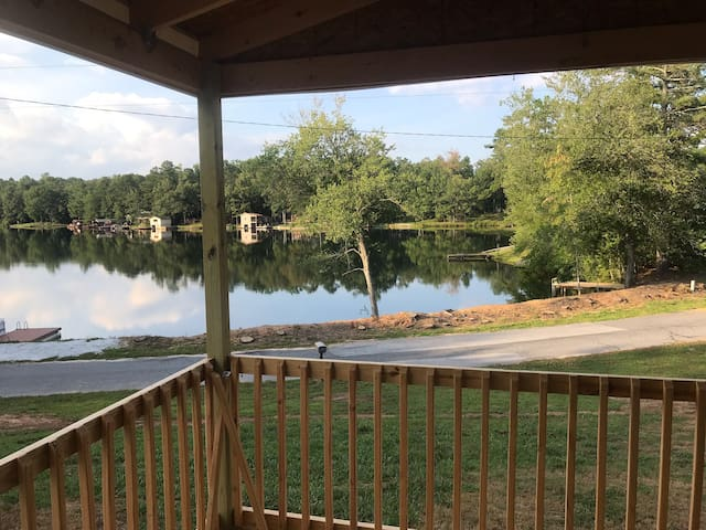 View of the lake from the porch.