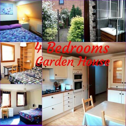 4 Bedroom Garden House -Optic Fiber WiFi & Parking
