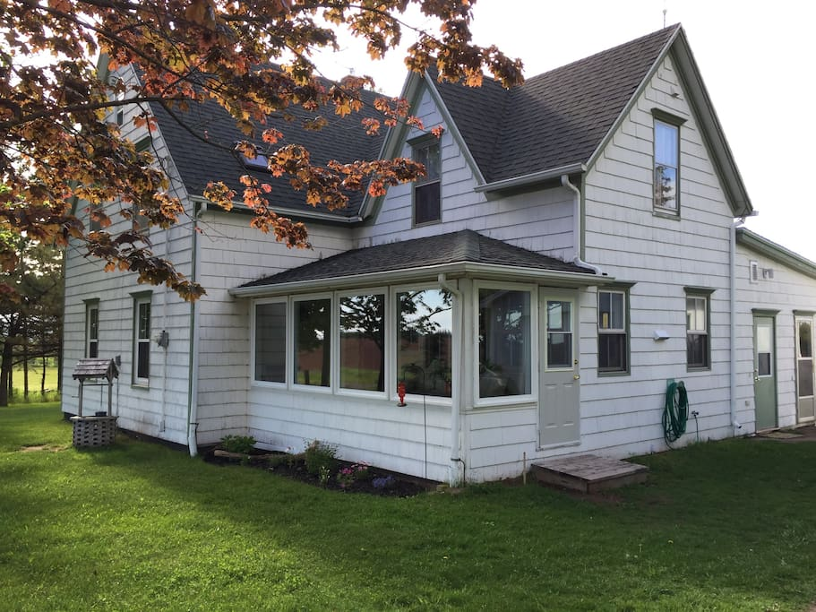 This is how you will see our home when you first arrive. You'll see our sunporch which is south facing and is a lovely place to spend a cozy afternoon.