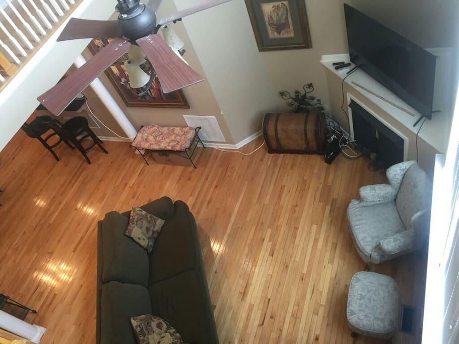 View of the living room from stairwell.