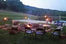 tiki torches at the lake