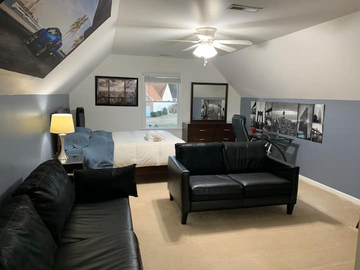 New York Room with Office Space and Couches