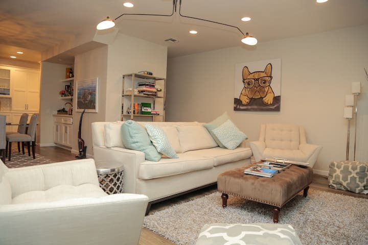 You'll feel right at home in our living room designed with calm and comfort in mind.