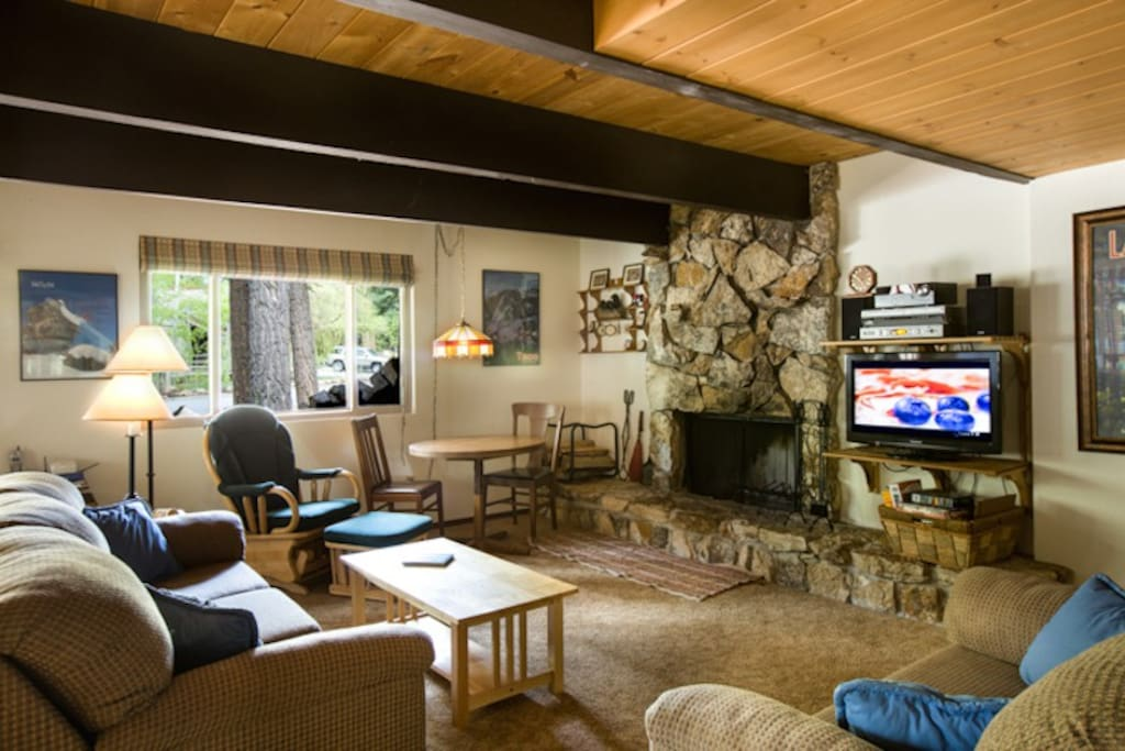 Living Area with Wood-Burning Fireplace