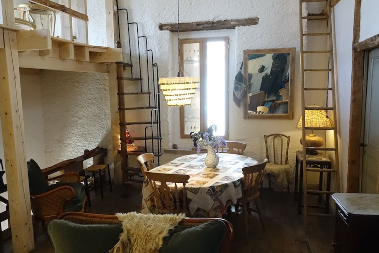 Upstairs Dining Room with stairs to a single bed loft