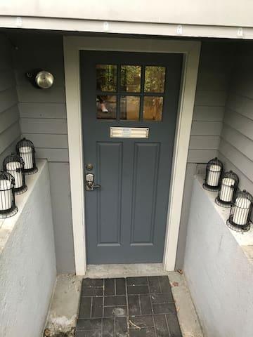 Exterior door opening to a mudroom.