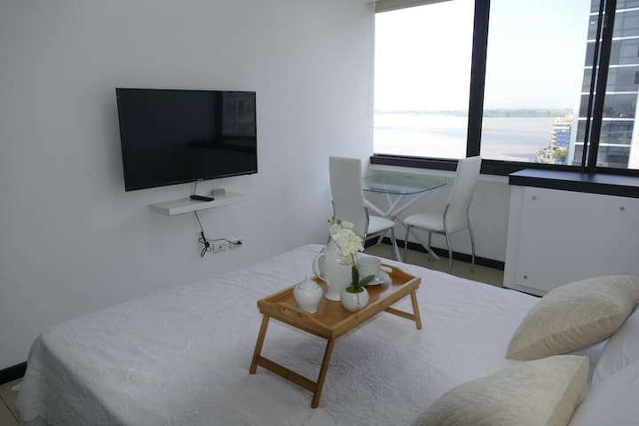 """Ecusuites  +59393915153 Luxury Private Room with river view  Comfortable Queen size bed, Black out curtains. TV Smart 42"""" with High speed WiFi Internet."""