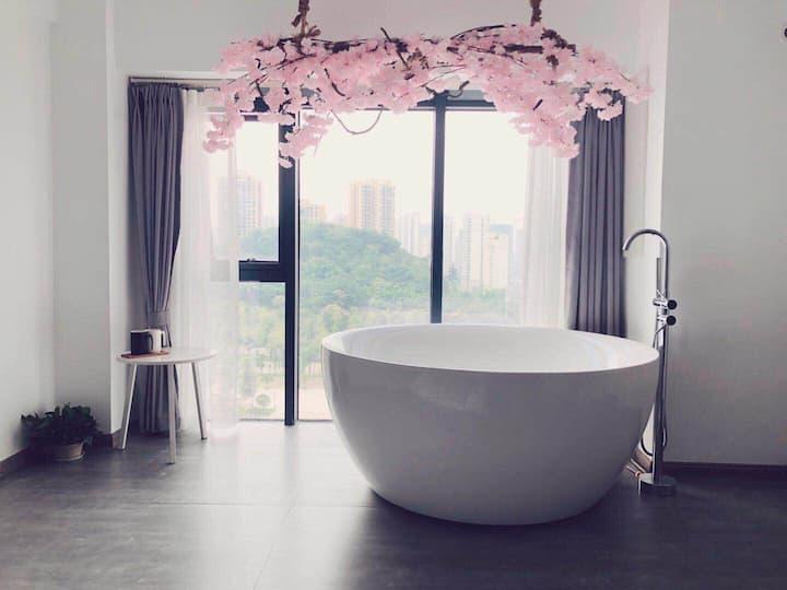 复古樱花浴缸房