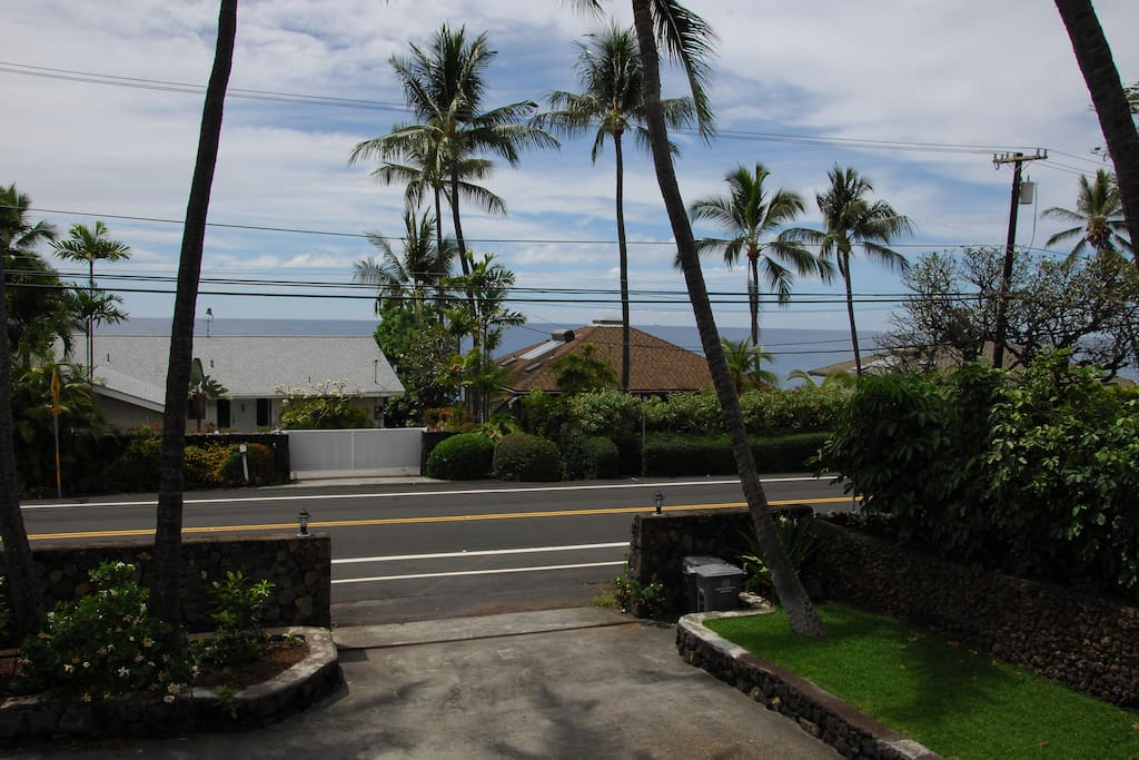 Picture from partially covered deck area shows how close you are to the beautiful Pacific Ocean. 4 minutes to LaAloa Beach Park for boogie boarding and swimming.