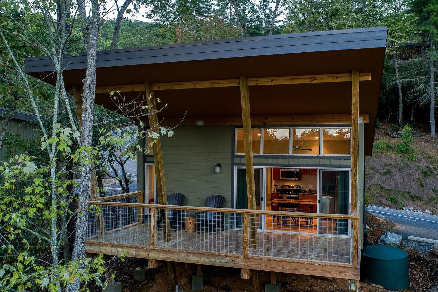 Architect designed cabins were planned to allow guests to interact with the outdoors and surrounding forest.