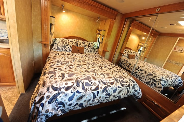 Your bedroom with super comfy queen size bed (we provide sheets and towels)