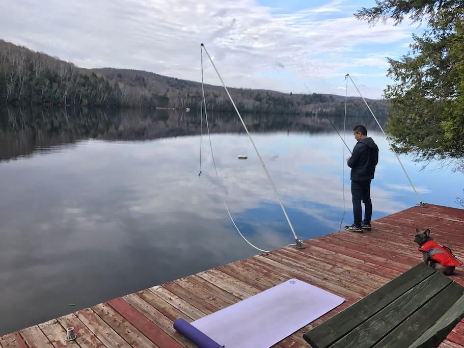 Fishing and Yoga on the dock