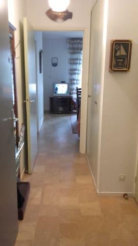 Le couloir qui dessert la salle de bain et sanitaire. un placard de rangement.