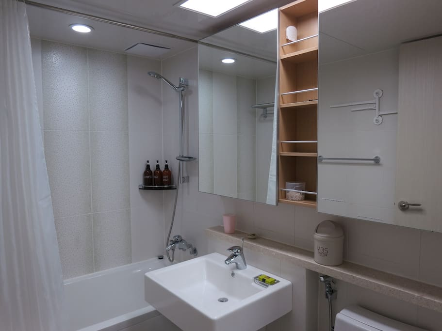PRIVATE GUEST BATHROOM - towels/shampoo/soap/toothpaste/toilet paper provided throughout stay.   No guest(s) of the ABB guest allowed.