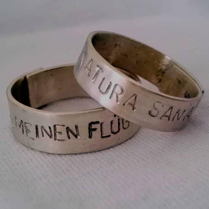 Ring aus Sterlingsilber mit Botschaft