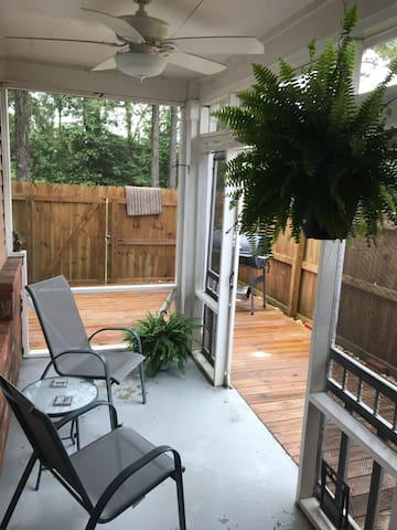 Fenced in back patio