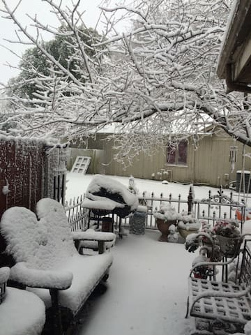 Snowy day on the side patio.