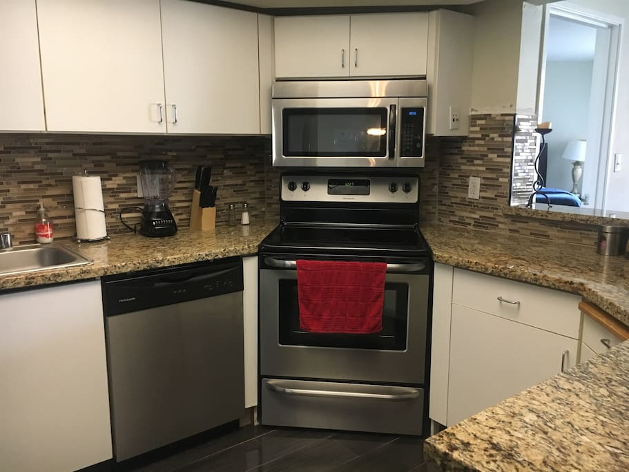 You will love our fully equipped kitchen, marble tops
